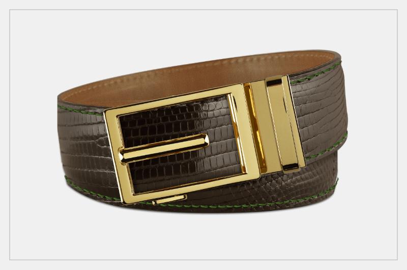 Tobacco Road American Leather Black Crocodile Texture Belt